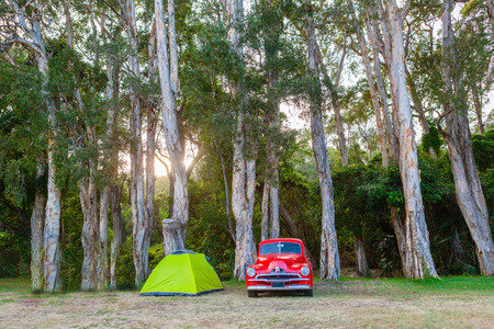 Vintage red car and small green tent under trees at sunset