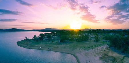 Vivid sunset over Lake Hume Village - aerial landscape