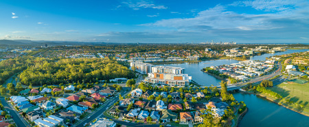 Aerial panorama of luxury real estate at Varsity Lakes suburb on Gold Coast, Queensland, Australia