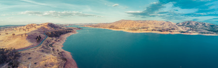 Murray River flowing into Lake Hume - aerial panorama. New South Wales, Australia