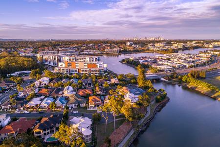 Varsity Lakes suburb luxury real estate at sunset. Gold Coast, Queensland, Australia - aerial landscape 写真素材