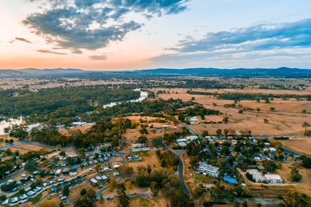 Aerial view of Lake Hume Village and Murray River at dusk