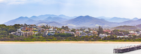 Panorama of luxury houses and mountains at Coffs Harbour, New South Wales, Australia