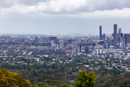 Brisbane city on overcast day viewed from mount Coot-tha lookout