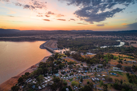 Lake Hume Dam and Village at dusk in New South Wales, Australia