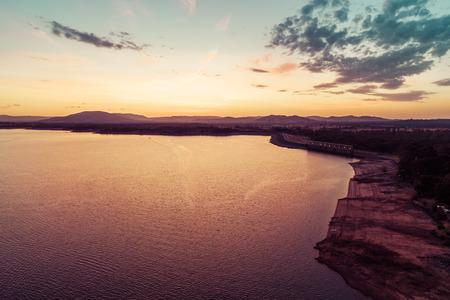 Twilight over scenic lake in Australia - aerial view