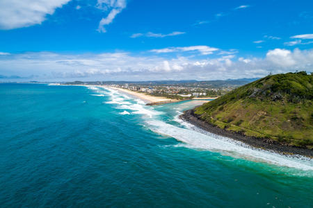 Aerial view of Burleigh Head National Park and ocean coastline. Gold Coast, Queensland, Australia