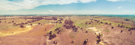 Aerial panorama of pastures and countryside in Cullerin, New South Wales, Australia