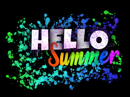 Hello Summer beautiful glowing sign with ink blots on dark background