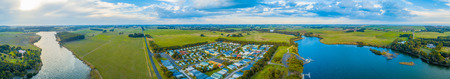 Hopkins River and grasslands - scenic wide aerial panoramic landscape. Warrnambool, Australia Фото со стока
