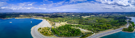 Aerial panorama of Cardinia Reservoir and Park in Melbourne, Australia Фото со стока