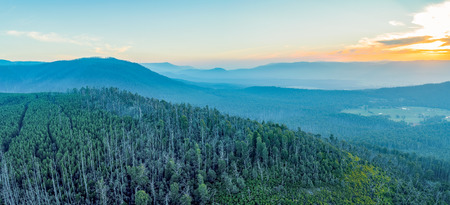 Aerial panoramic landscape of forest and mountains at sunset