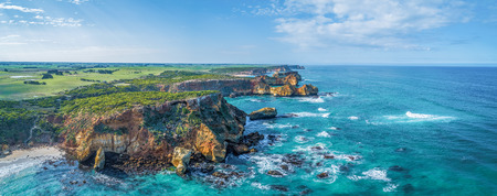 Aerial panorama of eroding rocks on ocean coastline near Warrnambool, Australia