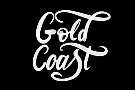 Gold Coast spray paint lettering in black and white
