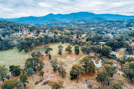 Aerial view of grasslands and trees in autumn in Victoria, Australia