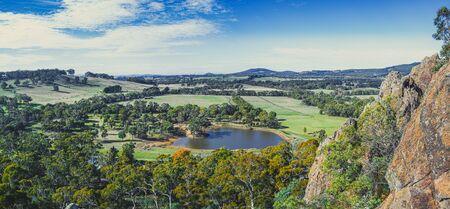 Wide panorama of scenic Australian countryside in Melbourne, Victoria Stockfoto