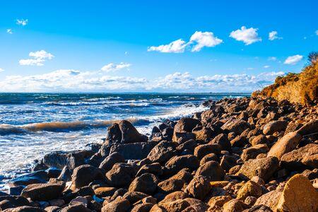 Boulders at Port Phillip Bay coastline on Mornington Peninsula in Frankston foreshore