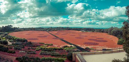 Beautiful panorama of Arid Garden in Cranbourne Botanic Gardens, Victoria, Australia