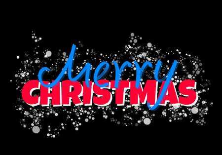 Beautiful lettering composition - Merry Christmas with white snow on black background
