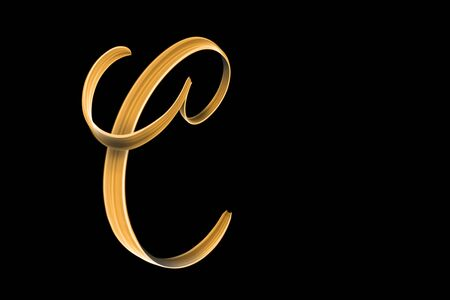 Golden capital letter C isolated on black with copy space - hand lettering