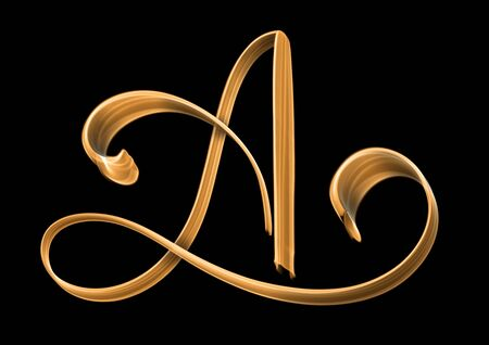 Golden capital letter A isolated on black background - hand lettering Stock Photo