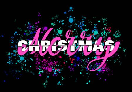 Merry Christmas lettering with typography on black background 스톡 콘텐츠 - 129925451