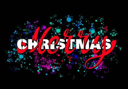 Festive hand lettering - Merry Christmas with colorful ink blots on black background