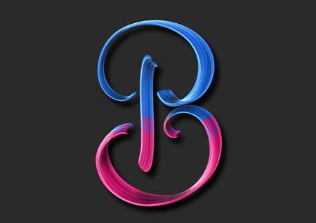 Capital letter B elegant lettering 3d illustration