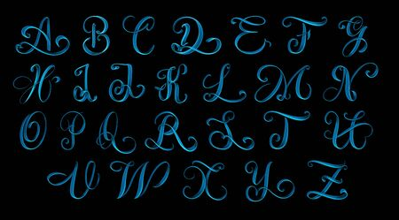Full alphabet of uppercase letters hand drawn lettering isolated on black background - 3d illustration