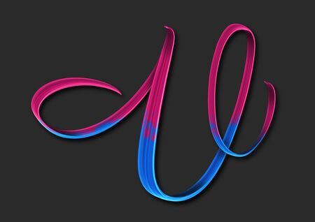 Capital letter V elegant lettering 3d illustration