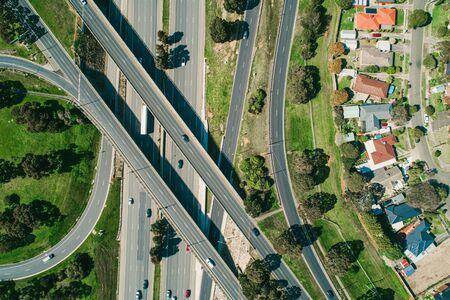Aerial top down view of highway interchange