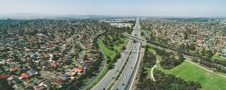 Monash freeway passing through Wheelers Hill suburb - aerial landscape