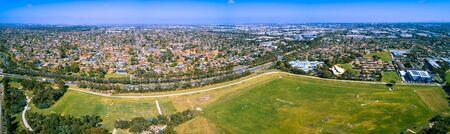 Aerial panorama of Mulgrave suburb in Melbourne, Australia on sunny day