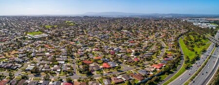 Aerial panorama of Wheelers Hill suburb in Melbourne, Australia on sunny day Stockfoto