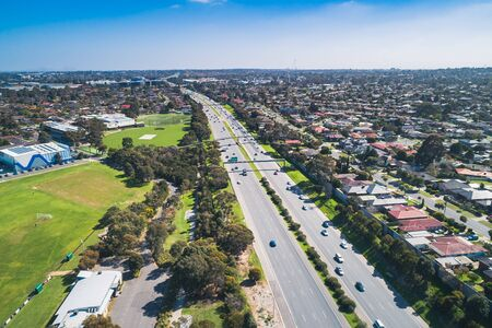 Aerial view of typical suburb in Melbourne