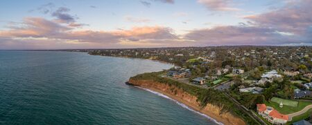 Aerial panorama of Daveys Bay beach on Mornington Peninsula in Melbourne at sunset - aerial view