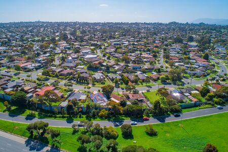 Aerial landscape of Wheelers Hill suburb in Melbourne, Australia on sunny day