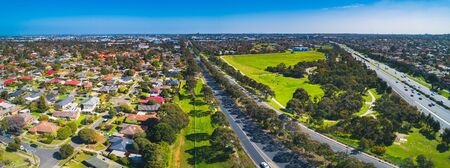 Aerial panorama of typical suburban area in Melbourne, Australia on sunny day Stockfoto