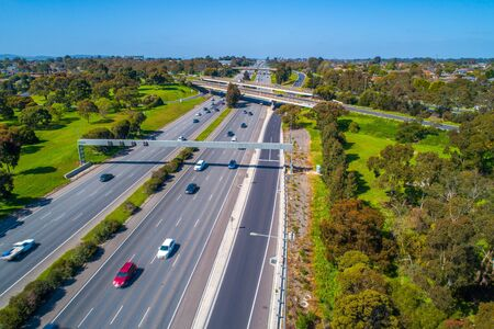 Aerial view of cars driving on highway in Melbourne, Australia