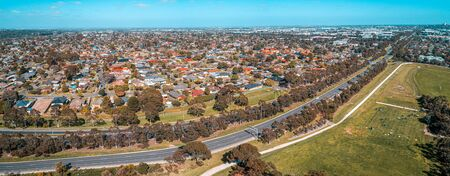 Aerial panorama of Mulgrave suburb and Wellington road on bright sunny day in Melbourne, Australia