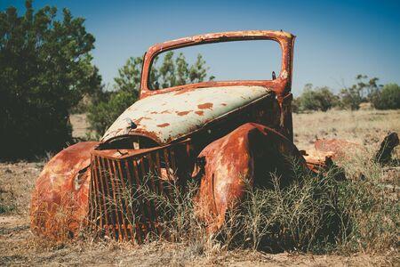 Remnants of abandoned retro vehicle in Australian desert