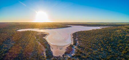 Lake Kenyon at sunset aerial panorama Stock Photo