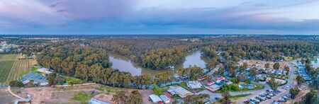 Murray River winding through native vegetation in Moama, New South Wales, Australia