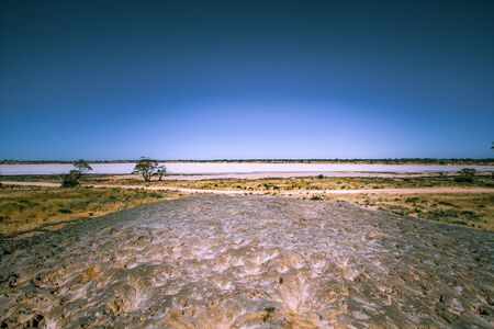 Huge pile of harvested salt near Lake Crosbie in Murray-Sunset National Park, Australia