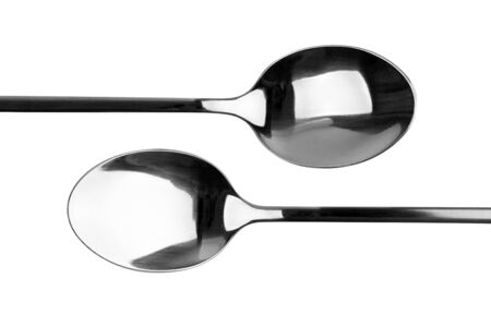 Two spoons closeup isolated on white Stockfoto