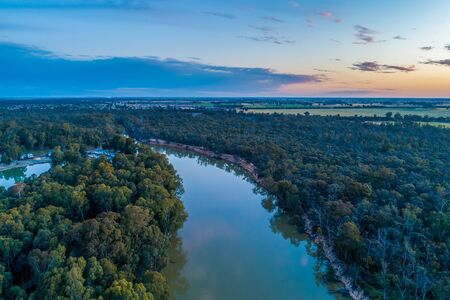 Murray River at dusk aerial view