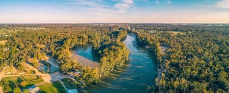 Aerial pano of Murray River near Moama, NSW, Australia Stockfoto