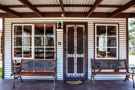 Front porch of a historic cabin in Australia