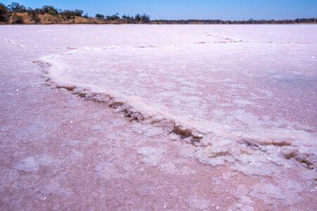 Extreme closeup of salt build-up on lake surface in Australian desert