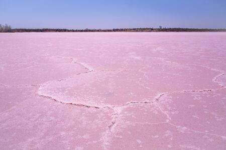 Dry pink salt lake in Australian Desert on bright sunny day
